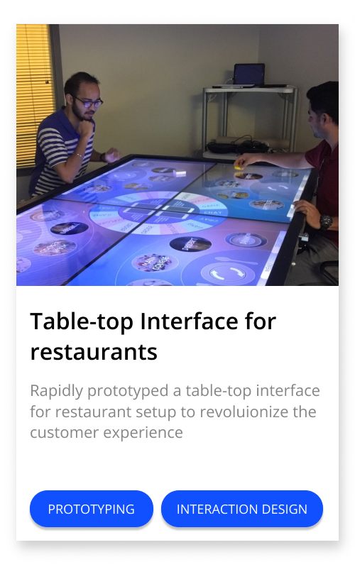 Table-top Interface for restaurants