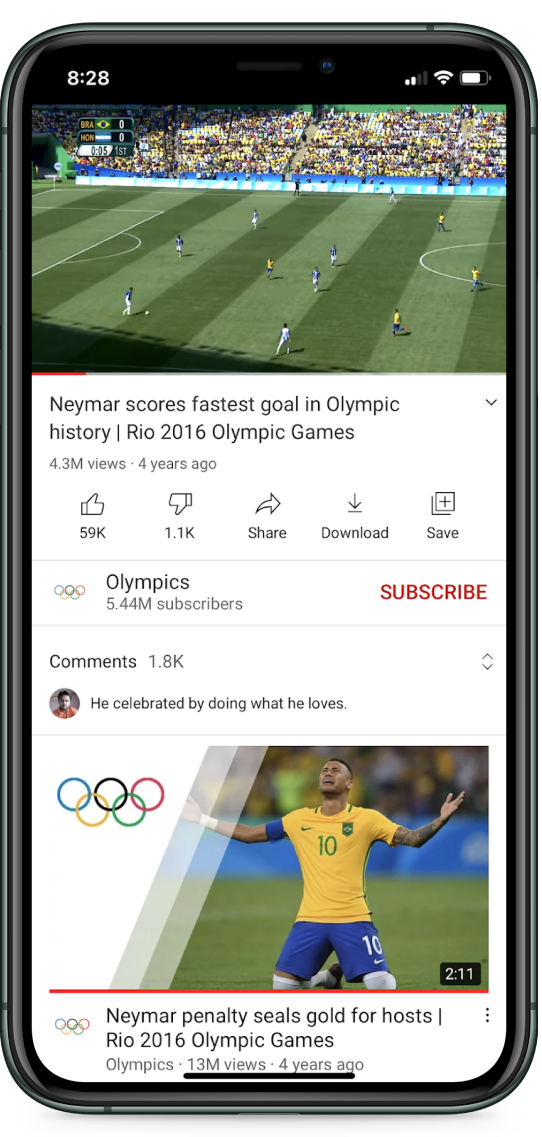 YOUTUBE APP MOBILE WATCH PAGE