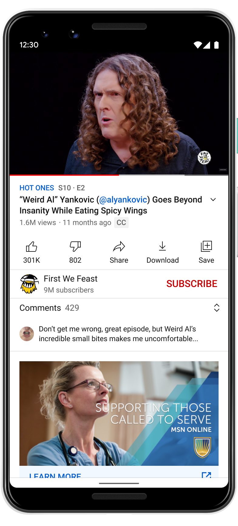 YouTube Watch Mobile page app UI