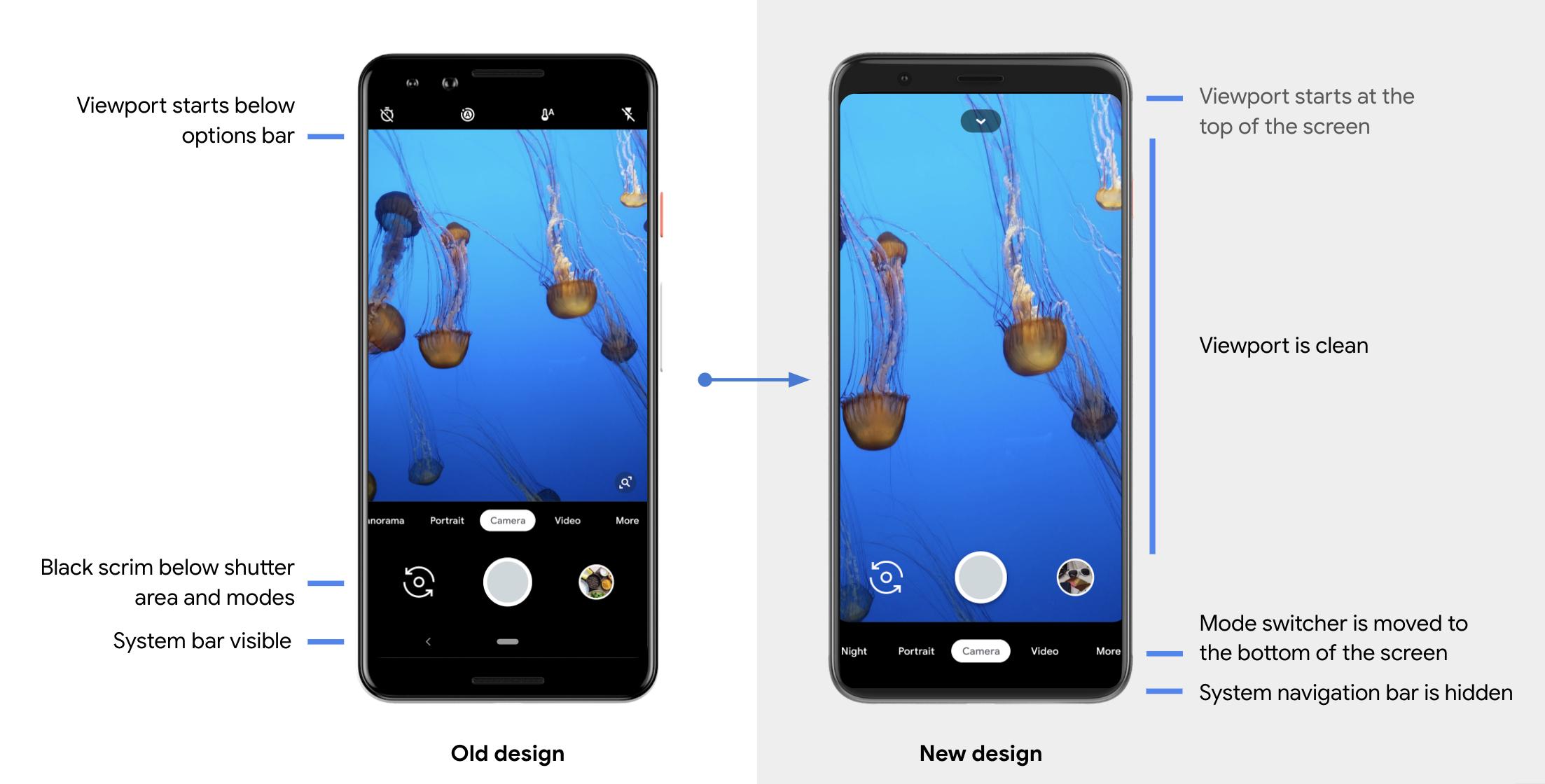 Pixel 4 camera app UI